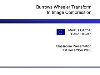 Burrows Wheeler Transform In Image Compression