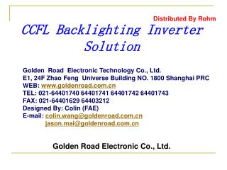 CCFL Backlighting Inverter Solution