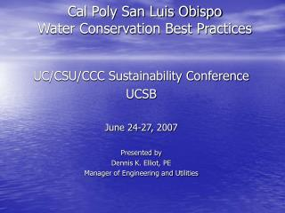 Cal Poly San Luis Obispo Water Conservation Best Practices