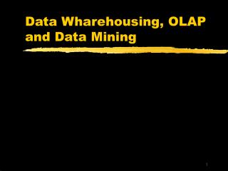 Data Wharehousing, OLAP and Data Mining