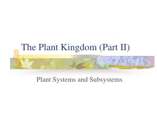 The Plant Kingdom (Part II)