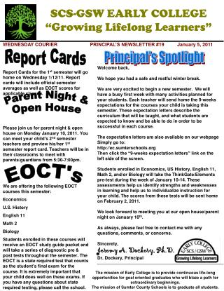 WEDNESDAY COURIER		PRINCIPAL'S NEWSLETTER #19	January 5, 2011