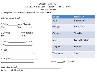 ENGLISH WITH FUN GAMES IN ENGLISH      Corect____of  15 points. The last lessons