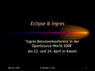 Eclipse & Ingres