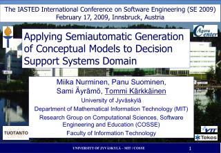 Applying Semiautomatic Generation of Conceptual Models to Decision Support Systems Domain