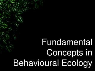 Fundamental Concepts in Behavioural Ecology