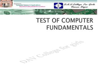 TEST OF COMPUTER FUNDAMENTALS