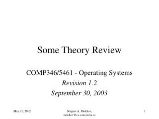 Some Theory Review