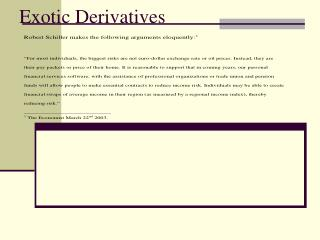 Exotic Derivatives