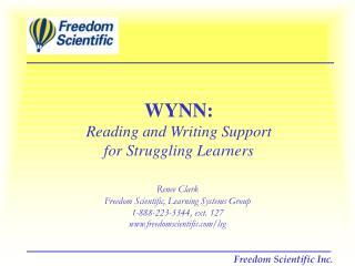 WYNN: Reading and Writing Support  for Struggling Learners