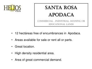 santa rosa apodaca commercial , industrial, housing or educational lands