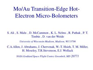 Mo/Au Transition-Edge Hot-Electron Micro-Bolometers