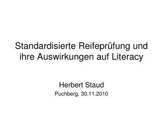 Standardisierte Reifeprüfung und ihre Auswirkungen auf Literacy
