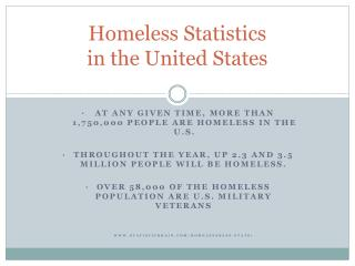 Homeless Statistics  in the United States