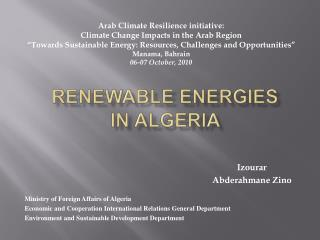 Renewable Energies       in Algeria