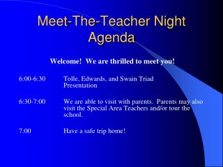 Meet-The-Teacher Night Agenda
