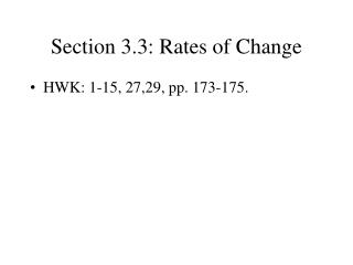Section 3.3: Rates of Change