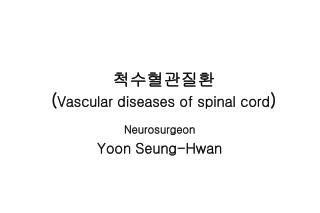 척수혈관질환  ( Vascular diseases of spinal cord )