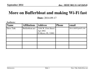 PPT - More on Bufferbloat and making Wi-Fi fast PowerPoint