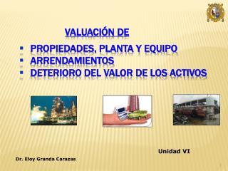 Valuación de Propiedades, Planta y Equipo Arrendamientos Deterioro del Valor de los Activos