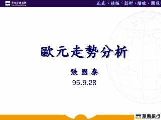 歐元走勢分析 張 國 泰 95.9.28
