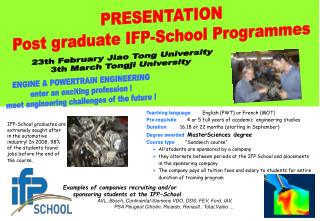 Examples of companies recruiting and/or sponsoring students at the IFP-School