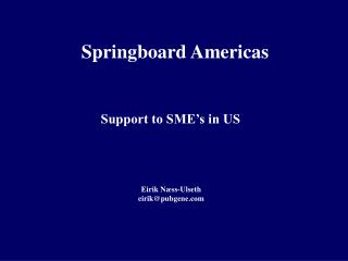 Support to SME's in US