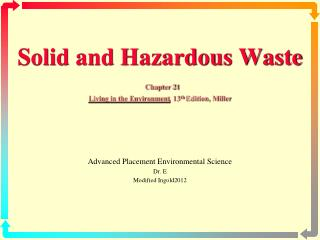 Solid and Hazardous Waste Chapter 21 Living in the Environment , 13 th  Edition, Miller