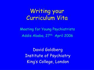 Writing your Curriculum Vita