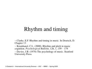 Rhythm and timing