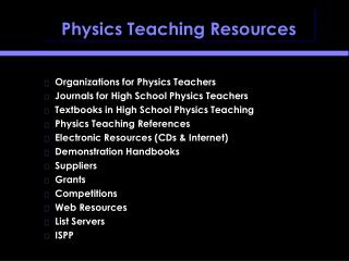 Physics Teaching Resources