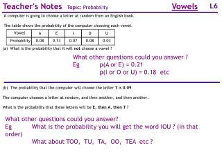 Teacher's Notes Topic: Probability