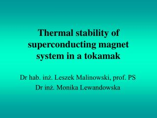 Thermal stability of superconducting magnet system in a tokamak