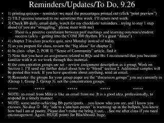 Reminders/Updates/To Do, 9.26
