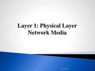 Layer 1: Physical Layer Network Media