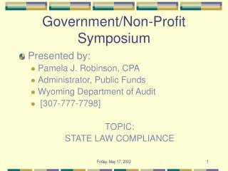 Government/Non-Profit Symposium