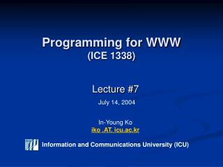 Programming for WWW (ICE 1338)