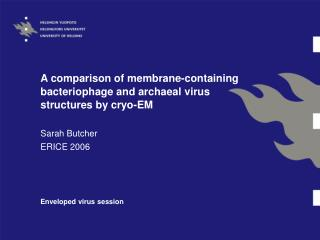 A comparison of membrane-containing bacteriophage and archaeal virus structures by cryo-EM