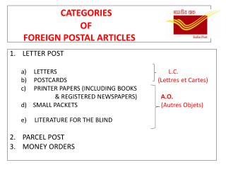 CATEGORIES                                OF        FOREIGN POSTAL ARTICLES