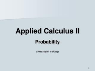 Applied Calculus II