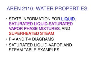 AREN 2110: WATER PROPERTIES