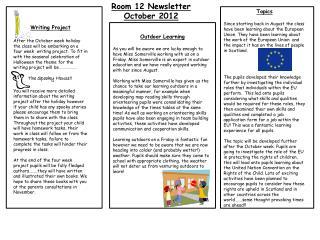 Room 12 Newsletter October 2012