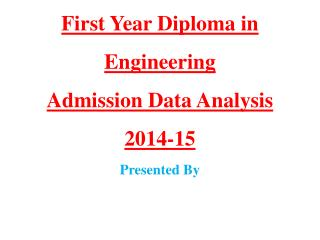 First Year Diploma in Engineering Admission Data Analysis 2014-15 Presented By