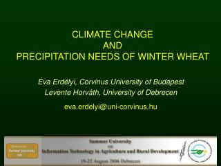 C LIMATE CHANGE AND PRECIPITATION NEEDS OF WINTER WHEAT