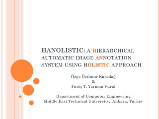 HANOLISTIC: a  h ierarchical automatic image  an notation system using h olistic  approach