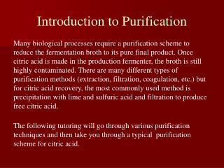 Introduction to Purification