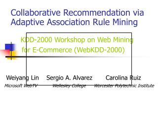 Collaborative      Recommender Systems