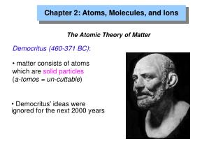 Chapter 2: Atoms, Molecules, and Ions