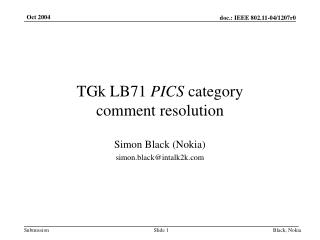 TGk LB71  PICS  category  comment resolution