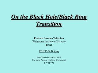 On the Black Hole/Black Ring Transition
